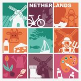 Traditional symbols of the Netherlands. Vector illustration Stock Photos