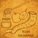 Traditional symbols of Rosh Hashanah. (jewish New Year holiday). Honey, ram horn Shofar and apple on aged paper background. Concept design for Shana Tova Stock Images