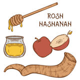 Traditional symbols of Rosh Hashanah (jewish New Year holiday). Honey, ram horn Shofar and apple on aged paper background. Concept design for Shana Tova royalty free illustration