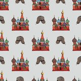 Traditional symbols of Russia. Hand drawing. Vector seamless pattern Stock Photos