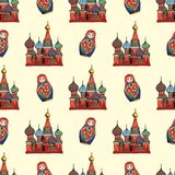 Traditional symbols of Russia. Hand drawing. Vector seamless pattern for design Royalty Free Stock Image