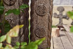 Traditional symbols on a wooden gate royalty free stock photography