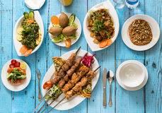 Traditional Syrian Cuisine, Kebab and Shish Taouk Stock Photos