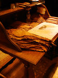 Traditional table for tobacco leaves rolling in order to make a perfect cigar, in Cuba Royalty Free Stock Images