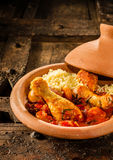 Traditional Tajine Dish with Chicken and Couscous Royalty Free Stock Photos