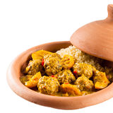 Traditional Tajine Dish of Meatballs and Couscous Stock Photos