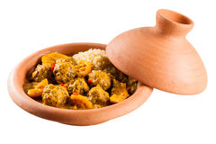 Traditional Tajine Dish of Meatballs and Couscous Royalty Free Stock Photography