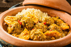 Traditional Tajine Dish of Meatballs and Couscous Stock Photo