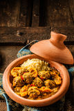 Traditional Tajine Dish of Meatballs and Couscous Royalty Free Stock Photos