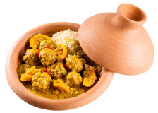 Traditional Tajine Dish of Meatballs and Couscous Royalty Free Stock Images