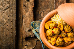 Traditional Tajine Dish of Meatballs and Couscous Stock Images