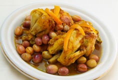 Traditional tajine of roasted chicken. Royalty Free Stock Photo