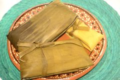 Traditional mexican tamales from Chiapas and Oaxaca states for Candelaria Day celebration stock images