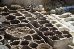 Traditional tannery iin Fez, Morocco Stock Photo