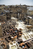 Traditional tannery iin Fez, Morocco Stock Images