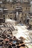 Traditional tannery iin Fez, Morocco Royalty Free Stock Photos