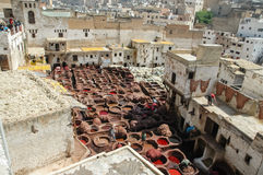 Traditional tannery iin Fez, Morocco Royalty Free Stock Images