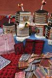 Traditional Tarabuco purses and women`s caps, Bolivia Stock Images