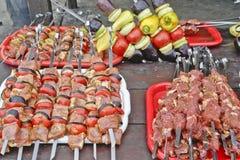 Traditional tartar kitchen. Lamb meat shashlyk Royalty Free Stock Photos