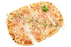 Traditional Tarte Flambee royalty free stock photos
