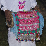 Traditional Taru drum player in Terai, Nepal. Traditional Taru drum and player in Terai, Nepal Stock Photo
