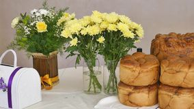 Traditional tasty ukrainian wedding bread loaf at the wedding table.  stock video