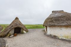 Traditional Tatched House near the famous Stonehenge. At United Kingdom royalty free stock photo