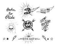 Traditional tattoo biker set Royalty Free Stock Images