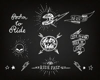 Traditional tattoo biker set Royalty Free Stock Photos