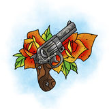 Traditional tattoo rose and gun design. Royalty Free Stock Photography