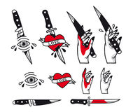 Traditional tattoo style set - hearts, knife, eye, hand, ribbons. Vintage ink old school tattooing Royalty Free Stock Images