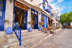 Traditional taverns and shops at Hydra island Greece Royalty Free Stock Photography