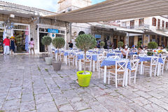 Traditional taverns and shops at Hydra island Saronic gulf Greece Royalty Free Stock Image