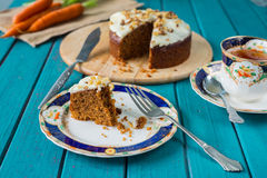 Traditional tea and carrot cake Stock Photo