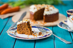 Traditional tea and carrot cake Royalty Free Stock Images