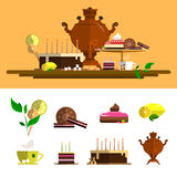 Traditional tea ceremony with samovar. Vector icons set in flat style. Design elements, cup, cake, chocolate, lemon, cookies, swee Royalty Free Stock Images