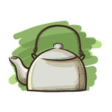 Traditional Tea Pot in Sketch Hand Drawing Royalty Free Stock Photos