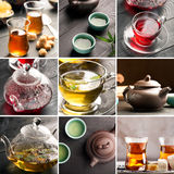 Traditional tea. Traditional sorts of tea different cultures (collage Royalty Free Stock Photo