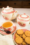 Traditional tea time. With biscuits Royalty Free Stock Photos