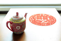 Traditional teapot used in chinese wedding. Royalty Free Stock Photography