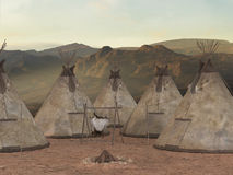 Traditional teepee village Stock Image