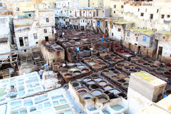 Traditional tennery and dyeworks in Fes, Morocco Stock Photos