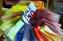 Traditional textile in Thailand market with tag price Royalty Free Stock Photography