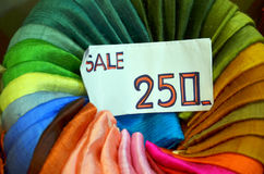 Traditional textile in Thailand market with tag price Stock Photos