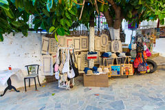 Traditional textiles on a market stall, colorful fabric, souvenirs in Crite, Greece Stock Photo