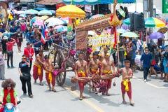 Traditional Thai art on ancient rocket in parades 'Boon Bang Fai Royalty Free Stock Photos