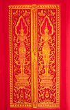 Traditional Thai art church door Royalty Free Stock Photography