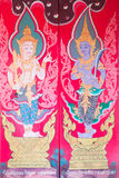 Traditional thai art of painting on the door of Thai temple Stock Photos