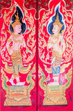 Traditional thai art of painting on the door of Thai temple Royalty Free Stock Photos
