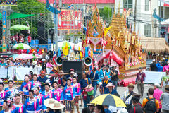Traditional Thai art on rocket in parades 'Boon Bang Fai'showing Royalty Free Stock Photos